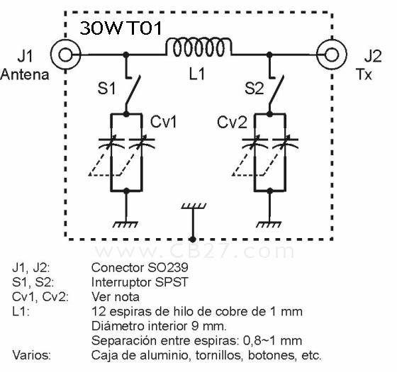 Esquema del acoplador para 27 MHz de José Luis (30WT01)