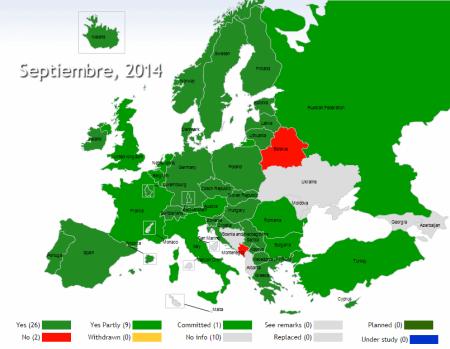 Mapa de implementación de la decisión CEPT ECC/DEC/(11)03