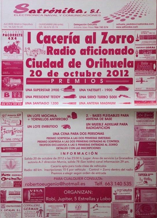I Cacería al Zorro Ciudad de Orihuela, el 20 de octubre de 2012