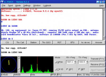 G-PSK31 es un software que corre bajo GNU/Linux