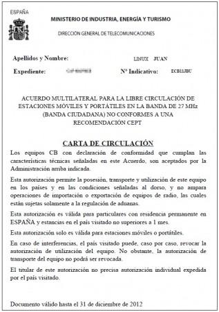 Carta de Circulación CB27