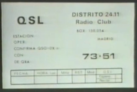 Reverso de una tarjeta QSL del Grupo CB Distrito 24.11