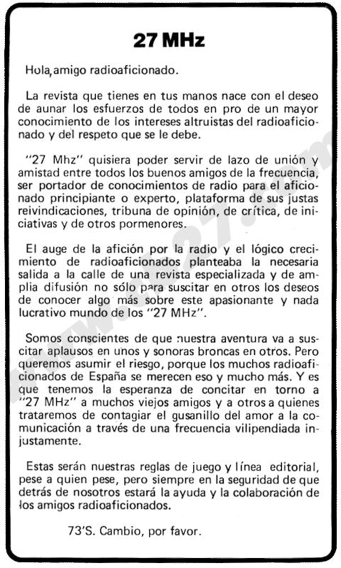 Editorial del nº 1 de la revista 27 MHz