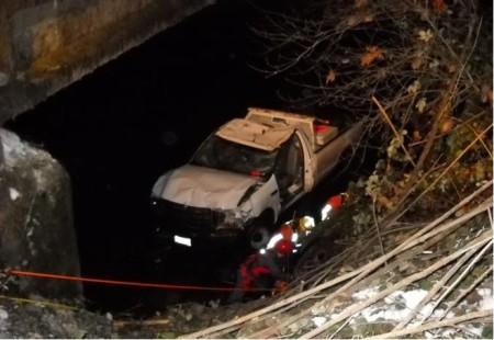 El vehículo accidentado auxiliado gracias al uso de la radio CB
