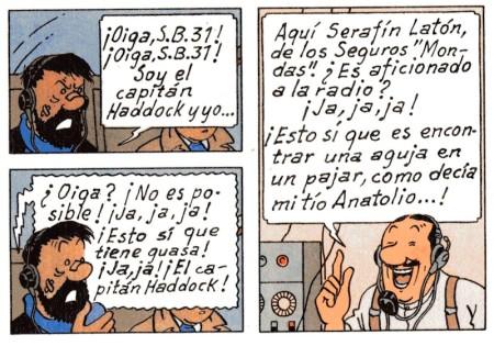 Mala suerte para Haddock y Tintín, dar precisamente con su vendedor de seguros al llamar de emergencia.