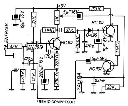 Esquema eléctrico de previo con compresor.