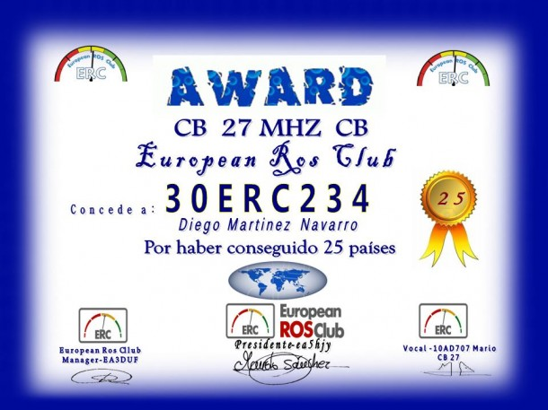 Diploma países European ROS Club