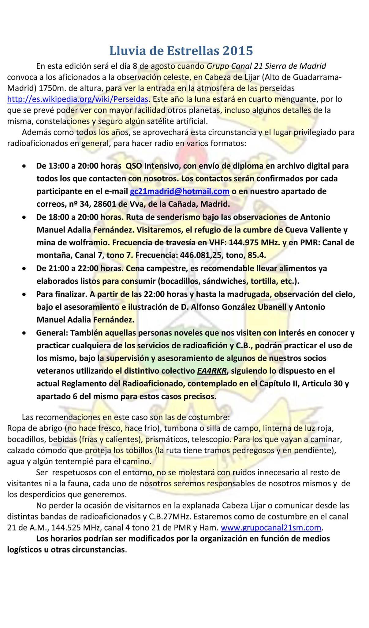 Convocatoria del Grupo Canal 21 Sierra de Madrid