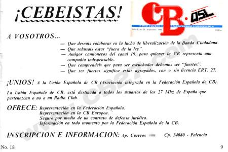 Texto de la Unión Española de CB publicado en septiembre de 1984.