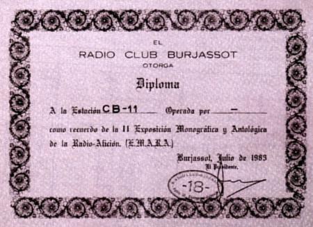 Diploma emitido por el Radioclub Burjassot en 1989.
