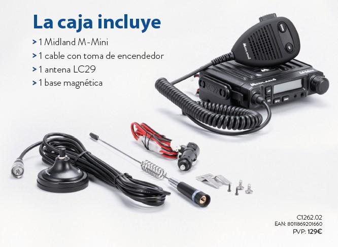 Elementos del kit: emisora, toma de mechero, antena con base magnética y cable de antena.